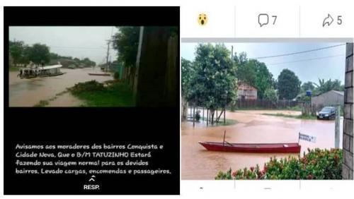 Com bairros alagados pela chuva, Terra Santa tem 'barco táxi' nas ruas