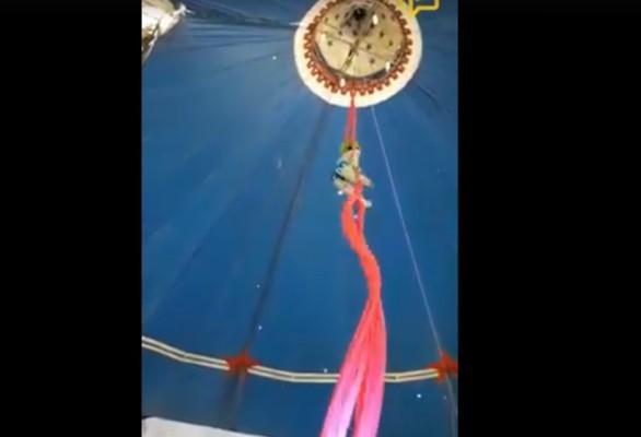 Artista circense despenca de tecido durante acrobacia, no Pará