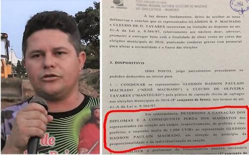 Sai a publicação no TRE/AM de cassação de Nenê Machado e Mantegão