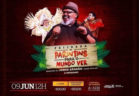 Jorge Aragão canta na Feijoada 'Parintins Para o Mundo Ver' dia 9 de junho