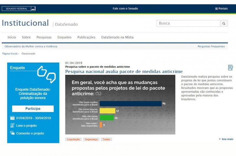 DataSenado: maioria aprova pacote anticrime do ministro Sérgio Moro