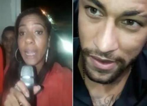 Mulher finge ser repórter e entrevista Neymar com microfone de karaokê