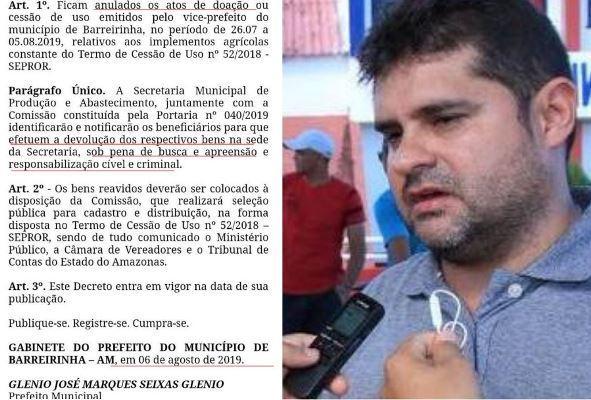 Prefeito de Barreirinha persegue agricultores que receberam implementos do Governo