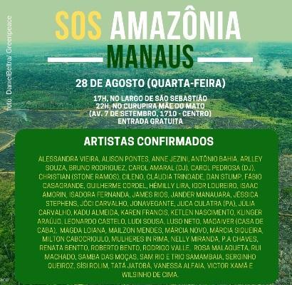 SOS Amazônia: Artistas Cantam em defesa da Floresta nesta quarta (28)