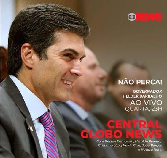 Helder Barbalho é o entrevistado de hoje (4) na Globo News