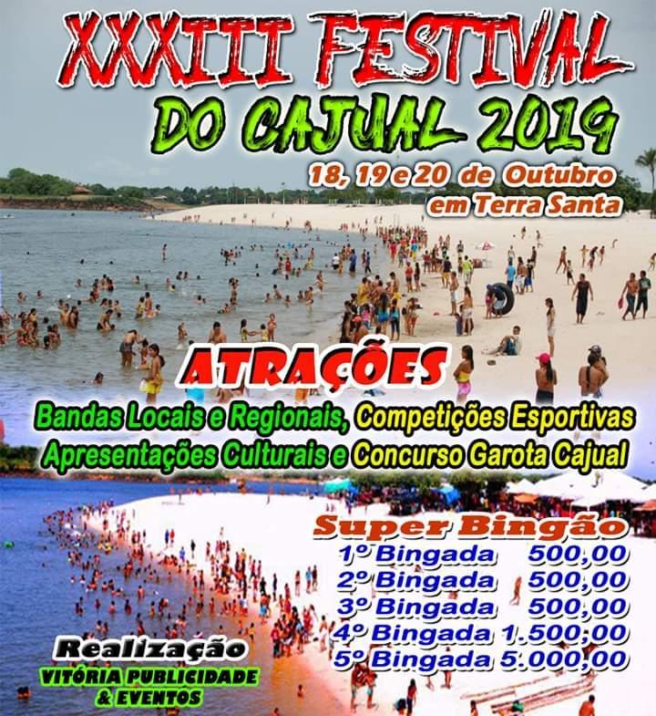 Festival do Cajual 2019 acontece de 18 a 20 de outubro, em Terra Santa