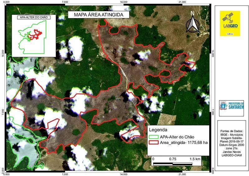 APA Alter do Chão teve 1.175,68 hectares de área queimada