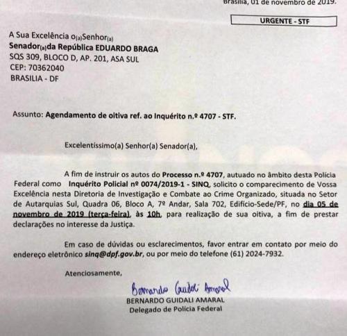 Braga diz que recebeu apenas intimação da PF e descarta busca