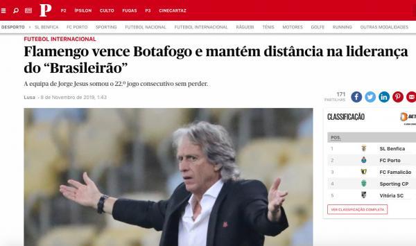 Portugueses destacam vitórias do Flamengo sob o comando de Jesus