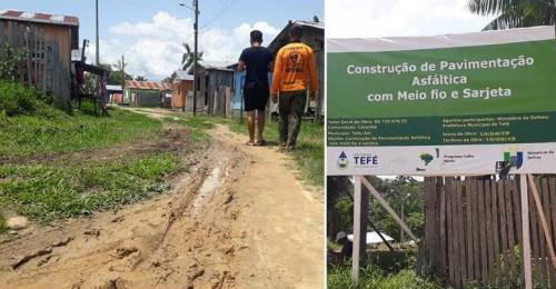 Moradores de Caiambé, em Tefé, contestam propaganda enganosa da Prefeitura e cobram asfalto