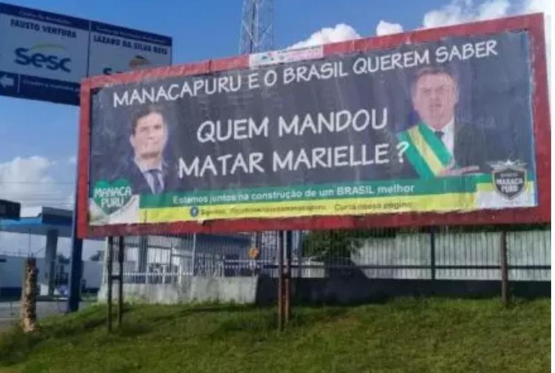 Campanha anticrime de Moro alterada em Manacapuru: 'Quem mandou matar Marielle?'