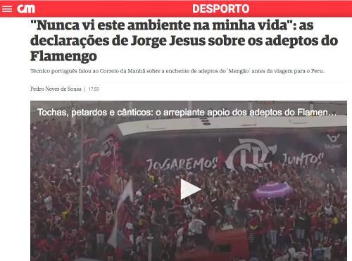 Torcida do Flamengo impressiona Imprensa de Portugal: 'arrepiante'