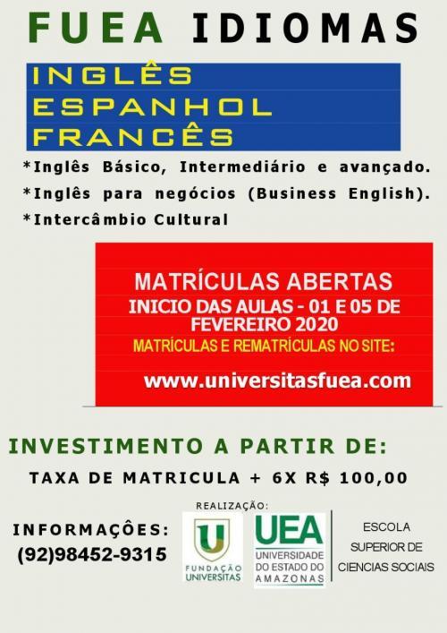 FUEA está com matrículas abertas para cursos de idiomas na ESO/UEA