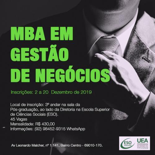 UEA abre inscrições para MBA em Gestão de Negócios