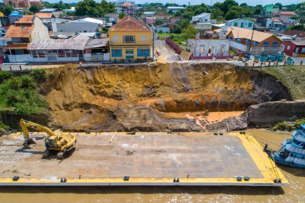 Com recursos próprios, Prefeitura de Parintins inicia reconstrução do muro de arrimo