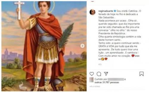 Regina Duarte comemora dia de São Sebastião com foto de Santo Expedito