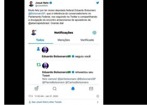 Josué Neto comemora por Eduardo Bolsonaro segui-lo no twitter