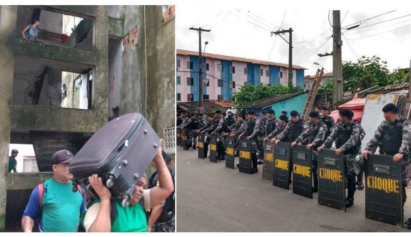 PM cumpre retirada de 80 famílias no Guamá, em Belém