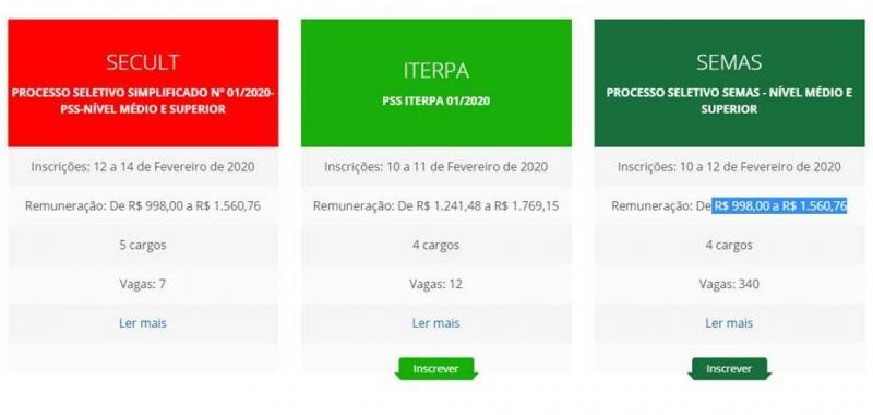 Iterpa, Semas e Secult iniciam inscrições de Processos Seletivos 2020