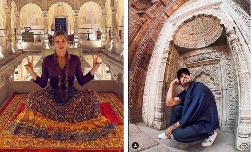 Assumidos mas sem posarem juntos, Caio e Grazi mostram viagem à Índia