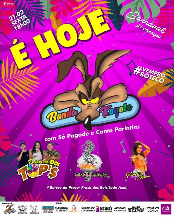 Banda do Koiote é atração desta sexta-feira gorda (21) do Carnailha 2020