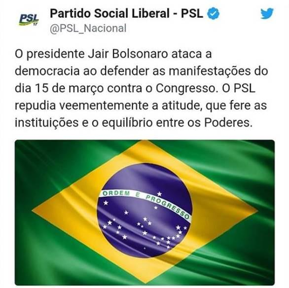 PSL repudia fala de Bolsonaro: 'Ataca a democracia, fere o equilíbrio entre os poderes'