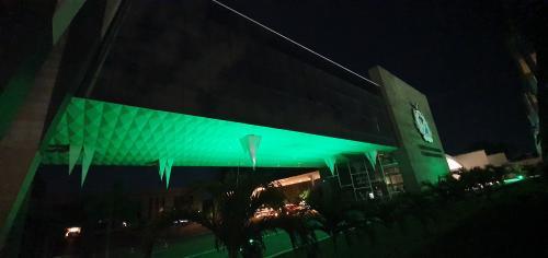 Luzes verdes na fachada do TCE-AM homenageiam profissionais de saúde