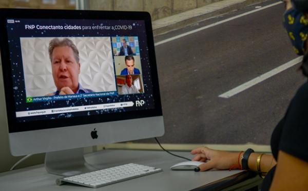 Em videoconferência, Arthur debate pandemia e processos eleitorais com prefeitos americanos
