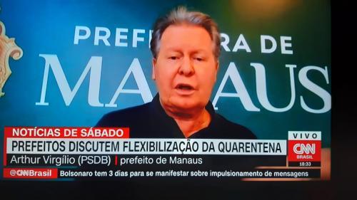 À CNN, prefeito de Manaus diz que reabertura do comércio é precipitada: 'espero que o governador esteja certo'