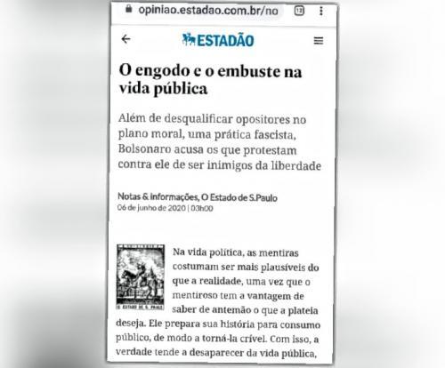 Pela primeira vez, Estadão chama Bolsonaro de fascista: 'engodo, embuste e ignominioso'