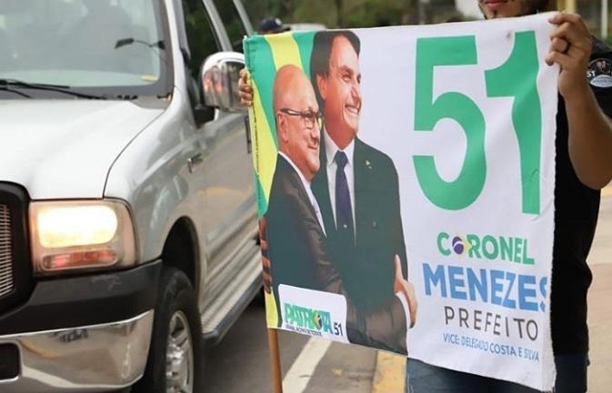Justiça Eleitoral retira propaganda de Menezes com Bolsonaro à pedido de Alberto Neto