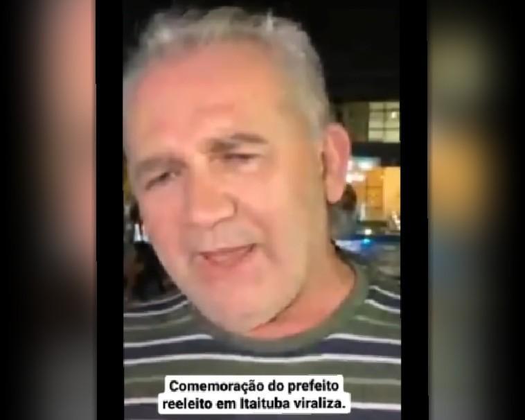 Após pedir cautela nas comemorações, vídeo do prefeito reeleito de Itaituba viraliza