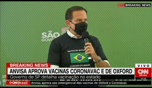 Doria enviará 50 mil doses da Coronavac para vacinar profissionais de saúde do AM