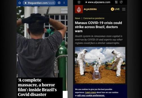 Maior jornal da Inglaterra e Aljazeera, do Qatar, destacam: 'Manaus, vive filme de terror' com a covid-19