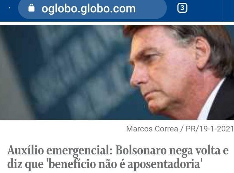 Bolsonaro não vai prorrogar auxílio emergencial: 'não é aposentadoria'