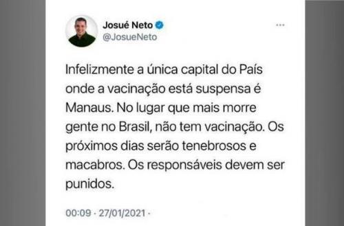 Josué Neto pede punição dos responsáveis, após suspensão de vacina, em Manaus