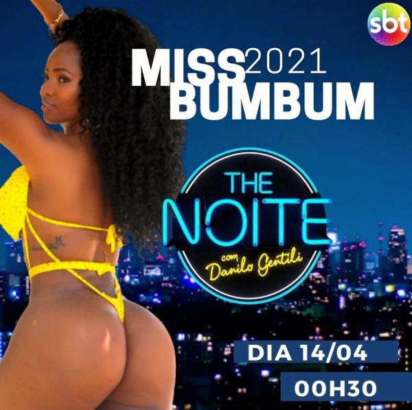 Candidata a Miss Bumbum 2021, amazonense Juh Campos participa hoje (14) do 'The Noite', no SBT