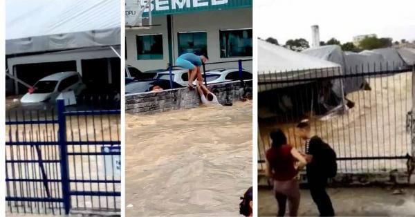Enxurrada invade abrigo de refugiados e arrasta pessoas, em Manaus