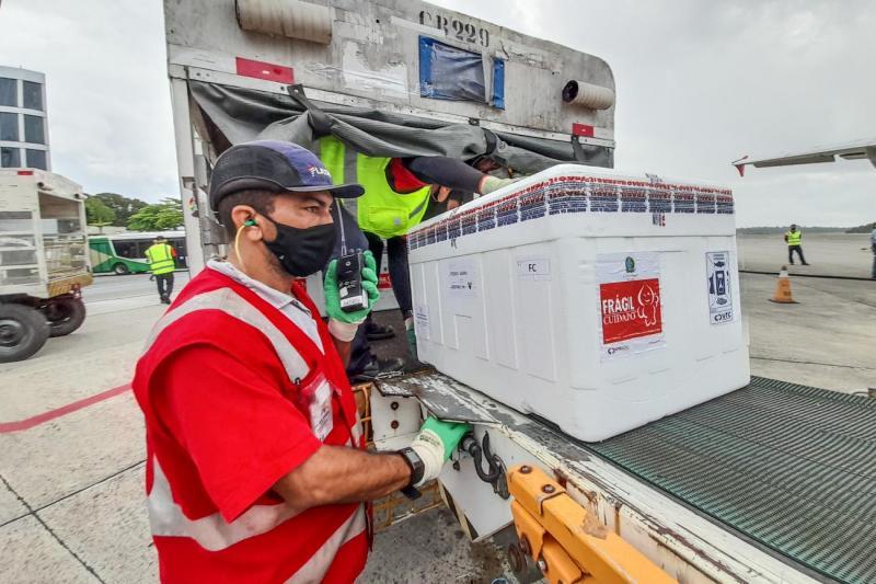 Pará recebe 220.750 doses de vacinas, com primeiro lote da Pfizer