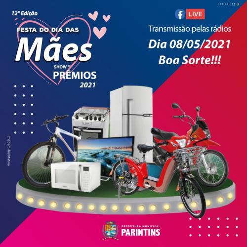 Prefeitura de Parintins sorteia motos, TV's e geladeiras em live de Dia das Mães, neste sábado (8)
