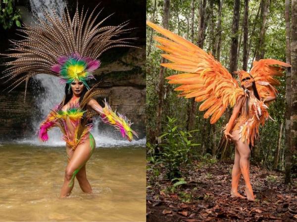 Itens do Boi Caprichoso vestem fantasias de materiais reutilizáveis para reviver lendas amazônicas