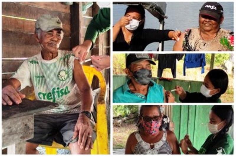 Após surto de casos de Covid-19, ribeirinhos de Itaituba (PA) recebem 1ª dose da vacina
