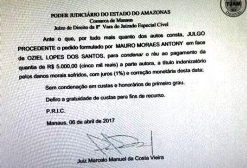 Juiz Mauro Antony ganha causa de Danos Morais contra colunista