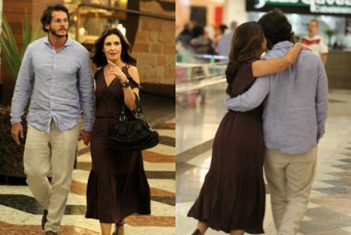 Fátima Bernardes surge com novo namorado em shopping