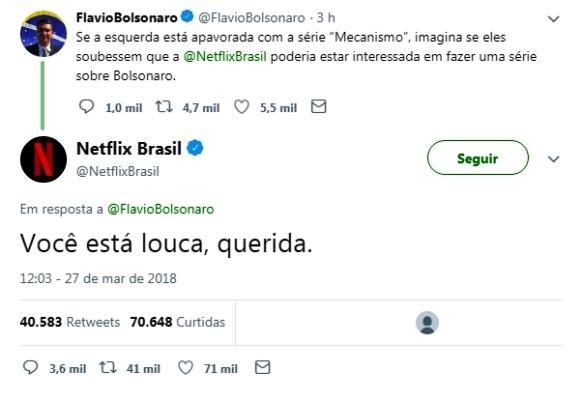 Netflix desmente filho de Bolsonaro sobre possível série com seu pai