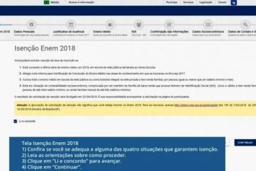Saiba como pedir isenção da taxa de inscrição do Enem 2018