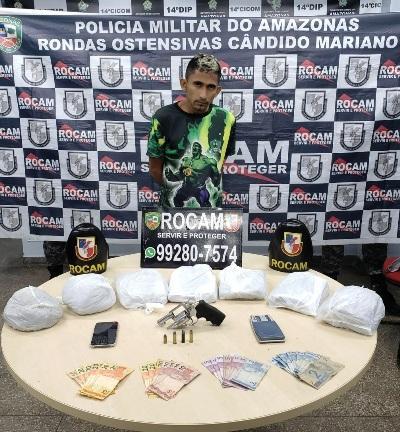 PM prende homem por tráfico de drogas e porte ilegal de arma, na zona leste de Manaus