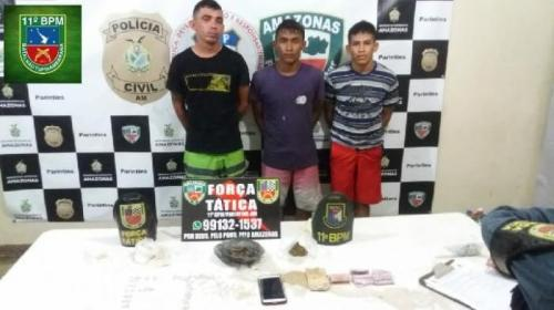 PM prende três homens acusados de tráfico de drogas em Parintins
