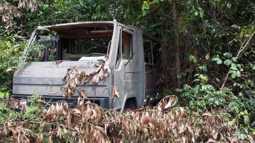 Carro que seria do Exército descoberto abandonado na mata em Iranduba