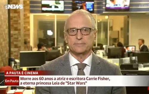 Jorge Pontual se defende após fazer piada com morte de Carrie Fisher